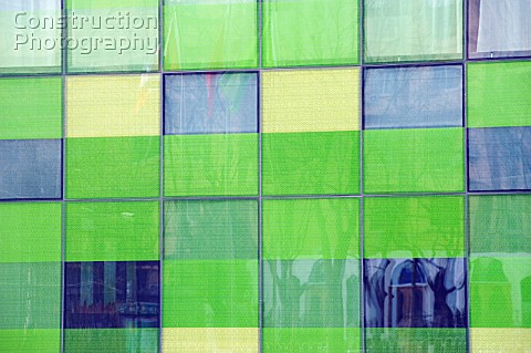 Detail of glass facade of new exclusive boutique hotel called The Opposite House in Beijing 2009