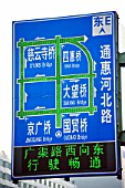 Road congestion sign showing clear roads, Beijing, China