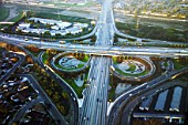 The 605 - 10 Freeway interchange, Los Angeles, California, USA, aerial view, dawn