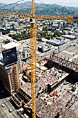 Large construction site with tower cranes, Hollywood, Los Angeles, California, USA
