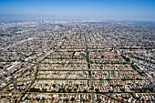 Aerial View of Residential Inner City Los Angeles, California, USA