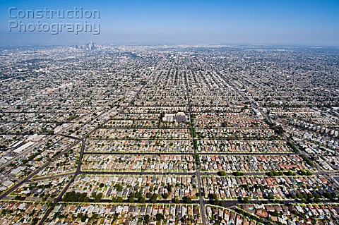 Aerial View of Residential Inner City Los Angeles California USA