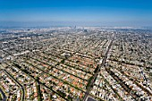 Helicopter Aerial View of Residential Inner City Los Angeles, California, USA
