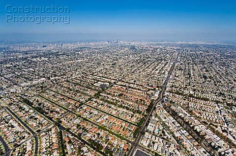 Helicopter Aerial View of Residential Inner City Los Angeles California USA