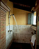 View of a shower in a bathroom