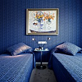 View of two blue colored single beds