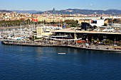Panoramis of Rambla de Mar and Maremangnum, Barcelona, Spain