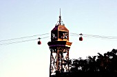 Teleferic arriving in middle couse, Monjuich,Barcelona, Spain