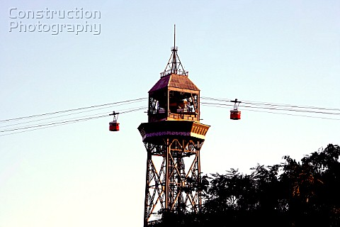 Teleferic arriving in middle couse MonjuichBarcelona Spain