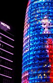 Night, partial view of Agbar Tower, Barcelona, Spain