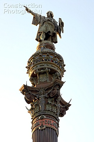 Detail of statue of Christopher Columbus in Barcelona Spain