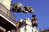 Detail of dragon and lamp and umbrella in Las Ramblas, Barcelona, Spain