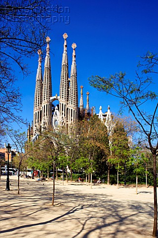 General view of La Sagrada Familia Antonio Gaudi Barcelona Spain