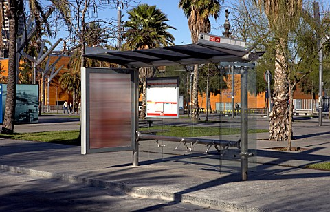 Bus stop with billboards for advertisements Barcelona Spain