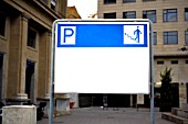 Parking and entrance sign, Barcelona, Spain