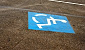 Handicapped sign in a road for parking purposes