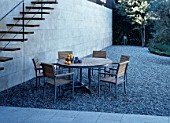 View of a neat dining arrangement in a patio