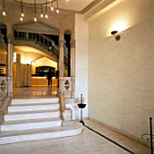 View of an illuminated lobby from a doorway