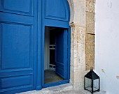 View of a traditional door painted in blue