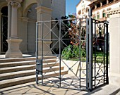 View of a sturdy metallic gate outside a building