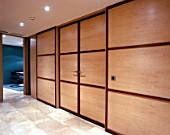 View of wooden doors of office cabins
