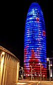 View of the Agbar Tower at night, architect Jean  Barcelona, Spain