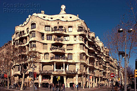 View of the exterior of Casa Mila La Pedrera Antonio Gaudi Barcelona Spain