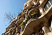 View of the exterior of Casa Mila, La Pedrera, Antonio Gaudi, Barcelona, Spain