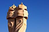 View of a detail of the exterior of Casa Mila, La Pedrera, Antonio Gaudi, Barcelona, Spain