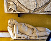 Wall art mounted on wall with naked statue,casa de pilatos,Seville,Spain