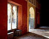 Traditional room with doorway and window,casa de pilatos,seville,Spain