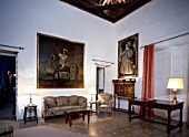 Living room with table lamp and furniture,Casa Pilatos,Sevilla,Spain