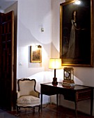Living room with arm chair and table lamp,Casa Pilatos,Sevilla,Spain