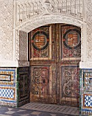Artistic carving on old wooden door,Casa Pilatos,Sevilla,Spain