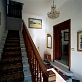 View of a stair-carpet on a staircase