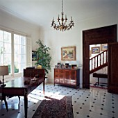 View of an elegant room with tiled flooring