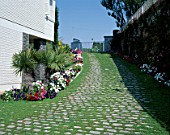 A sloping walkway is well landscaped