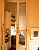 View of a home office through a doorway