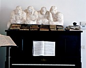 View of elegant sculptures on a piano