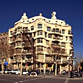Facade of Casa Mila, Barcelona, Spain