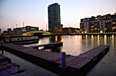 Grand Canal Docks and the Alto Vetro residential apartment high-rise at dusk, Feb 2008