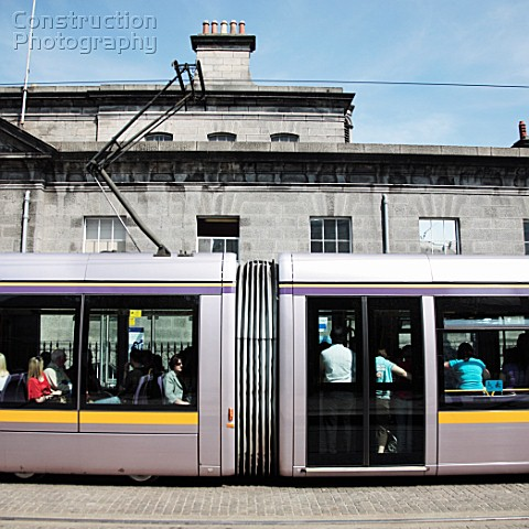 LUAS tram at Four Courts stop on the Red Line Dublin Ireland 2008