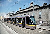 LUAS tram at Four Courts stop on the Red Line, Dublin, Ireland 2008