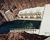 Colorado River and the Hoover Dam, Arizona, USA