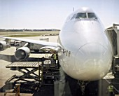 Jumbo jet in preperation for take off, Heathrow Airport, UK, shot through window, 2003,
