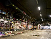 Leak street underpass, waterloo station, london, walls full of graffiti.