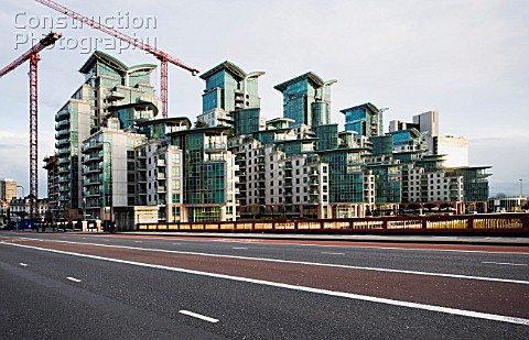 St George Wharf residential housing Vauxhall Bridge London in construction designed by Broadway Maly