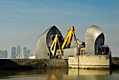 Thames Barrier Annual Test Closure with Canary Wharf in the background