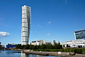 The Turning Torso building in Malmo, Sweden. Designed by architect Santiago Calatrava for European Housing exhibition area.