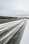 Icy conditions on A55, North Wales, UK